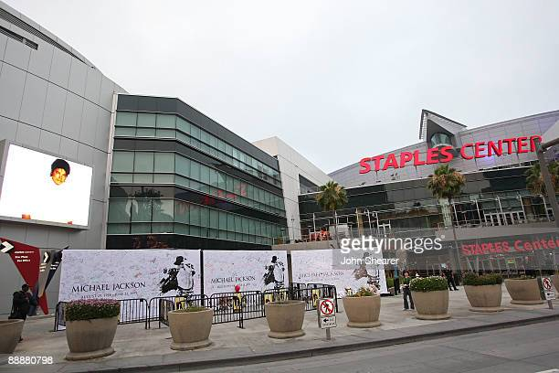 General view of the Michael Jackson public memorial service at Staples Center on July 7, 2009 in Los Angeles, California. Jackson the iconic pop...