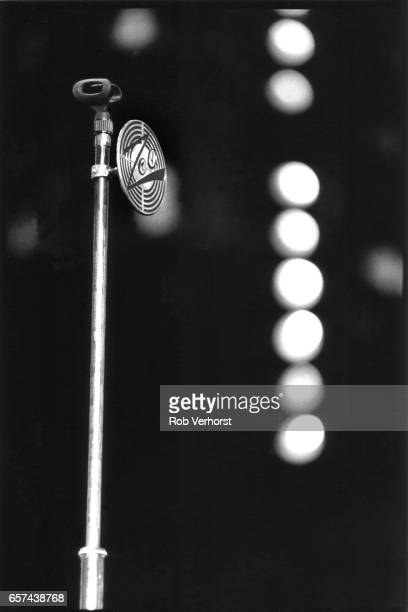 General view of the microphone on stage before a U2 concert at Feyenoord Stadiium on the Zoo TVZooropa Tour De Kuip Rotterdam Netherlands 9th May 1993