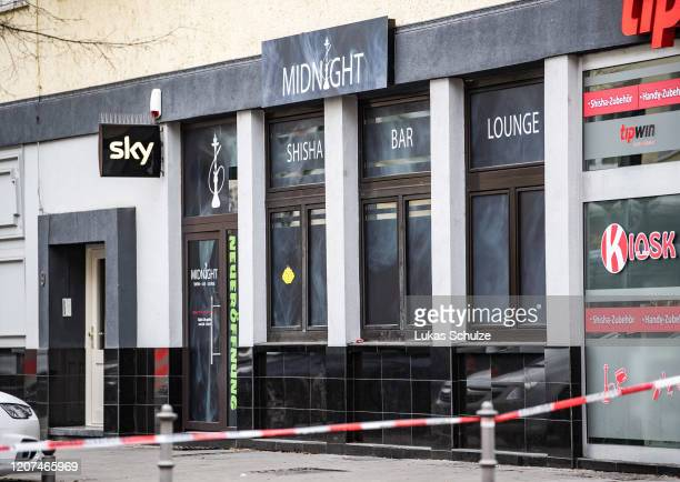 A general view of the Midnight hookah bar one of two bars that were targeted by a gunman last night on February 20 2020 in Hanau Germany A total of...