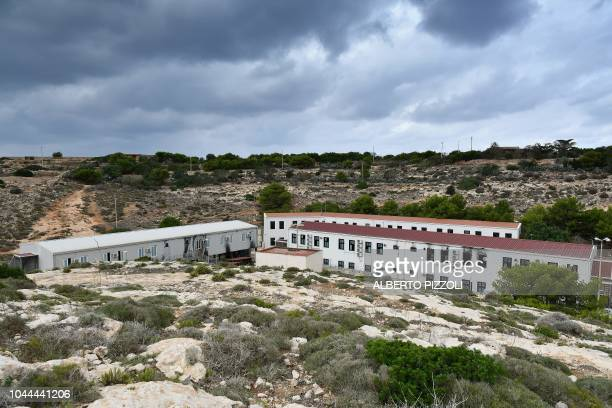 A general view of the migrants reception and identification center or Hot Spot in Lampedusa on September 26 2018 Five years after the worst shipwreck...