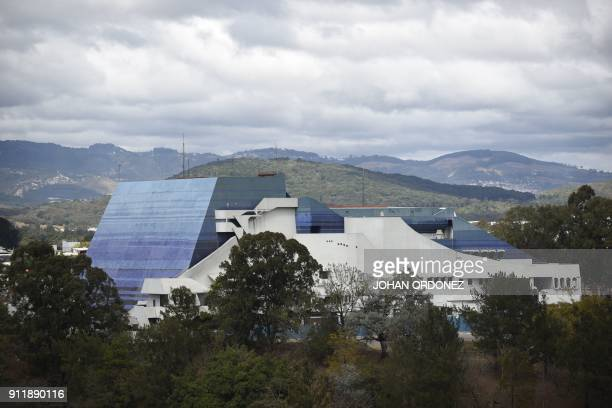 General view of the Miguel Angel Asturias National Theatre in Guatemala City taken on January 29 2018 / AFP PHOTO / Johan ORDONEZ