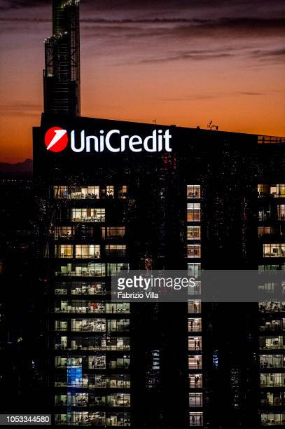 A general view of the Milan and Unicredit Tower tower at sunset on October 24 2018 in Milan Italy The phenomenon is caused by the Föhn a dry wind...