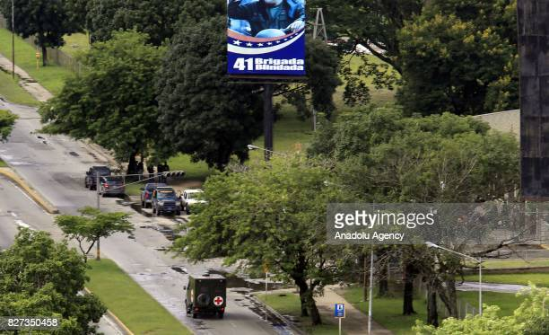 A general view of the military base of the Paramacay Fort in Valencia Venezuela on August 06 2017 Two assailants were killed and eight captured on...
