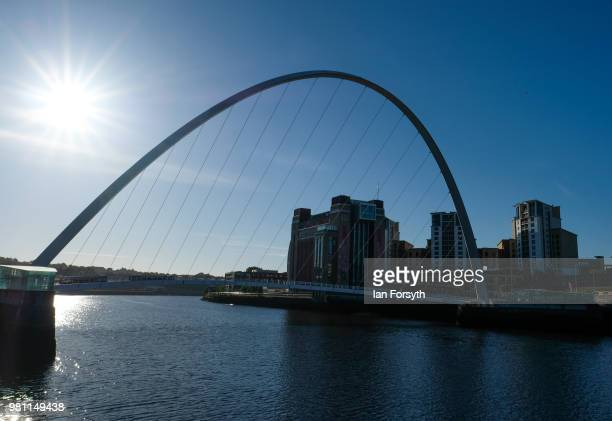 General view of the Millenium Bridge on the launch day of the Great Exhibition of the North on June 22, 2018 in Newcastle Upon Tyne, England. The...