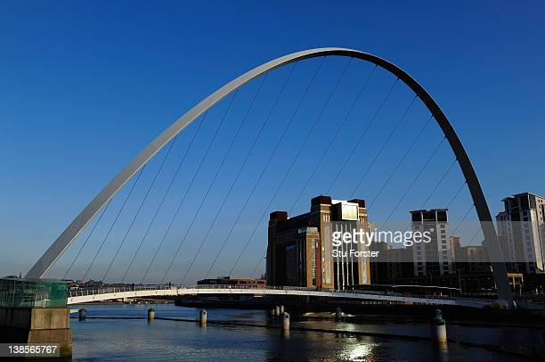 A general view of the Millennium Bridge over the River Tyne on February 8 2012 in Newcastle upon Tyne England