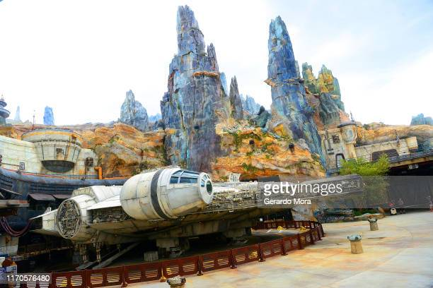 General view of the Millennium Falcon at the Black Spire Outpost at the Star Wars: Galaxy's Edge Walt Disney World Resort Opening at Disney's...