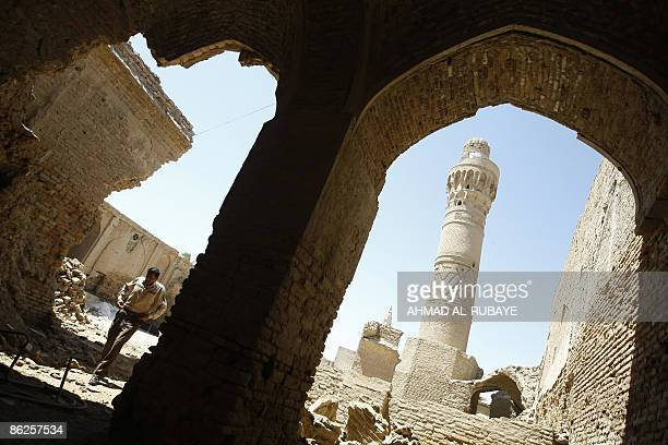 A general view of the minaret of a mosque in the grounds of what was once the Jewish shrine of Ezekiel the prophet who followed the Judeans into the...
