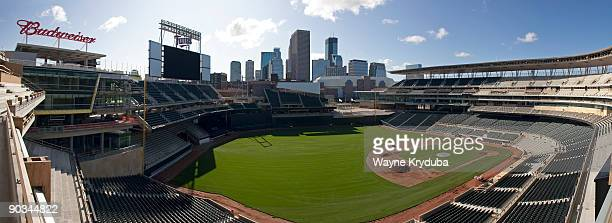 A general view of the Minneapolis skyline and construction at Minnesota Twins Target Field in Minneapolis Minnesota