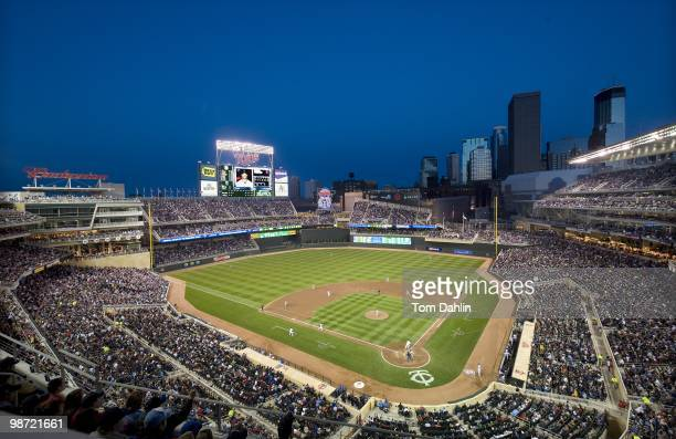 General view of the Minneapolis skyline at night during an MLB game between the Kansas City Royals and the Minnesota Twins at Target Field on April...