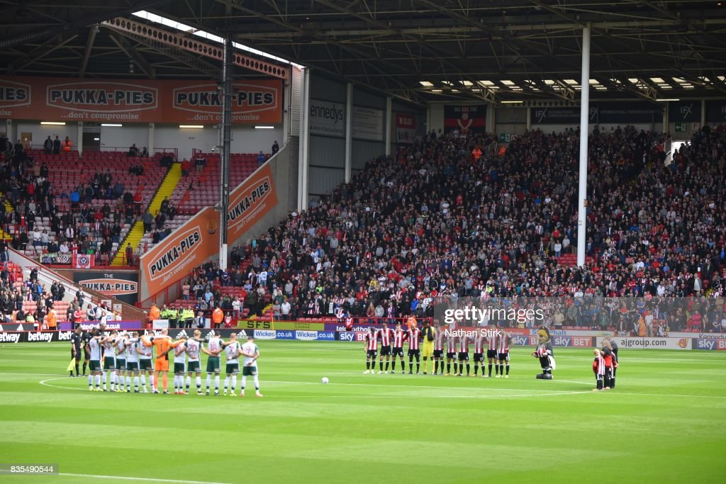 General view of the minutes silence during the Sky Bet Championship match between Sheffield United and Barnsley at Bramall Lane on August 19, 2017 in Sheffield, England.