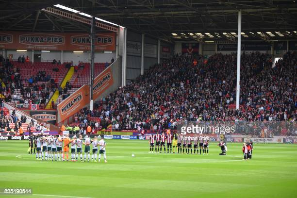 General view of the minutes silence during the Sky Bet Championship match between Sheffield United and Barnsley at Bramall Lane on August 19 2017 in...