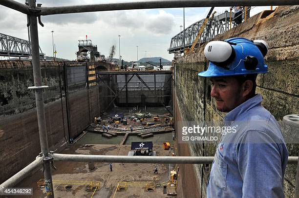 General view of the Miraflores locks western gate during maintenance works on August 29 2014 in Panama City Once a year the Panama Canal closes some...