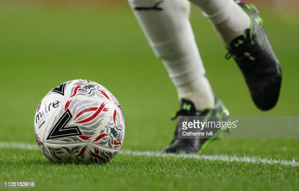 General view of the Mitre match ball during the FA Cup Fourth Round match between Arsenal and Manchester United at Emirates Stadium on January 25...