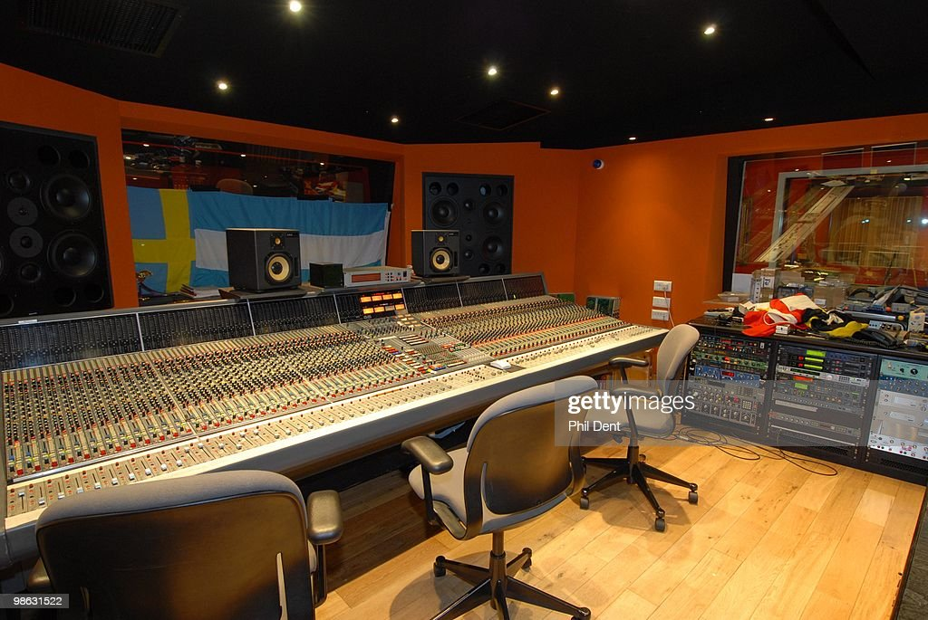 A general view of the mixing desk and monitor speakers in the control room at the Paint Factory recording studio on 22nd October 2008 in the United Kingdom.