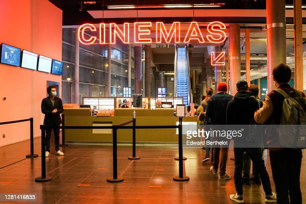 General view of the MK2 bibliotheque where customers are queuing on October 21st At MK2 Bibliotheque on October 21 2020 in Paris France Cinema MK2...