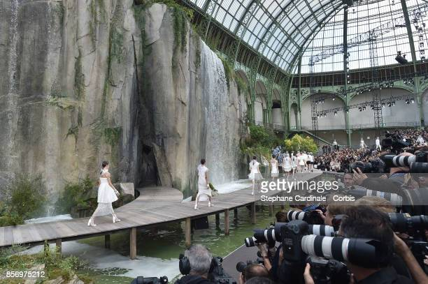 General view of the models as they walk the runway during the Chanel Spring Summer 2018 show at the Grand Palais as part of Paris Fashion Week at on...