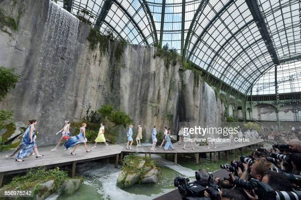 "General view of the models as they walk the runway during the Chanel Spring Summer 2018 show at the ""Grand Palais"" as part of Paris Fashion Week at..."