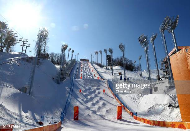 A general view of the Moguls course ahead of the PyeongChang 2018 Winter Olympic Games at Phoenix Park on February 6 2018 in Pyeongchanggun South...