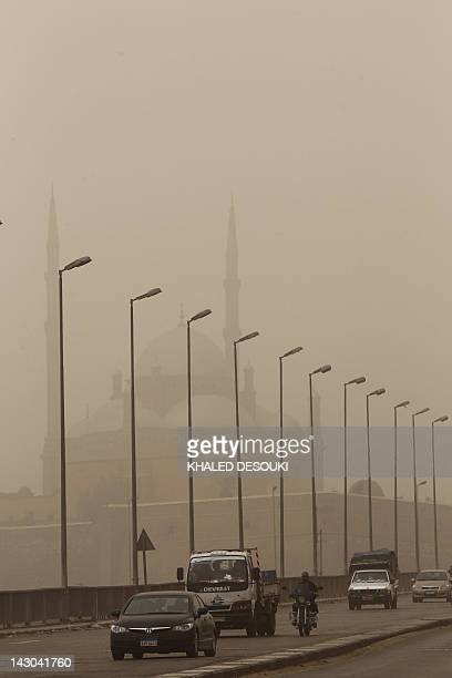 A general view of the Mohamed Ali Mosque situated inside the citadel in the Egyptian capital Cairo on April 18 as a sand storm envelops the country...