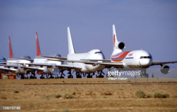 General view of the Mojave Airport with dozens of jetliners in storage circa June, 1994 at the Mojave Air and Space Port in Mojave, California.