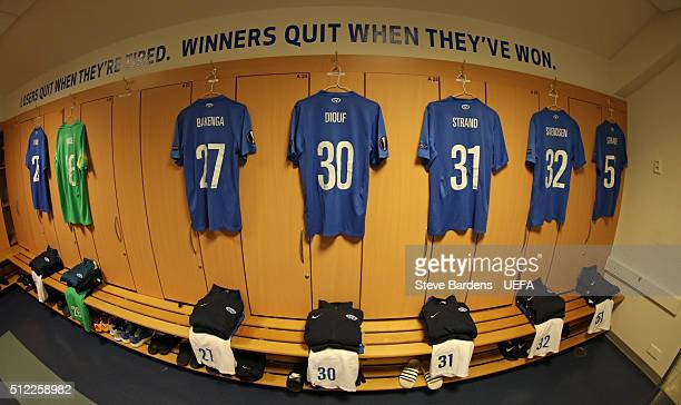A general view of the Molde dressing room prior to the UEFA Europa League Round of 32 second leg match between Molde and Sevilla at Aker Stadion on...