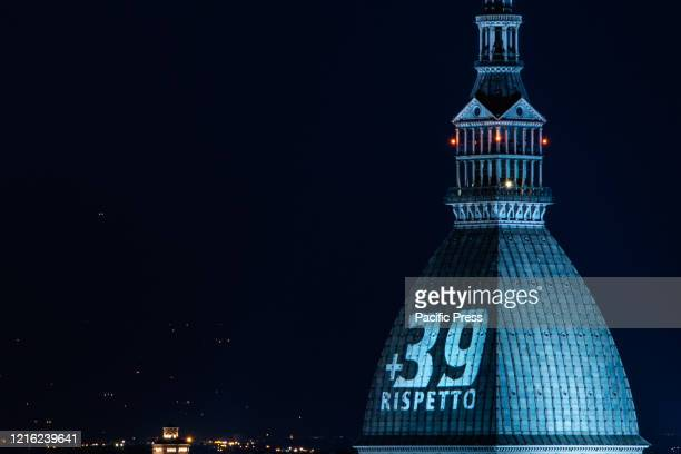 General view of the Mole Antonelliana illuminated in honour of the victims of the Heysel Stadium disaster in Turin. On May 29 39 died and 600 were...