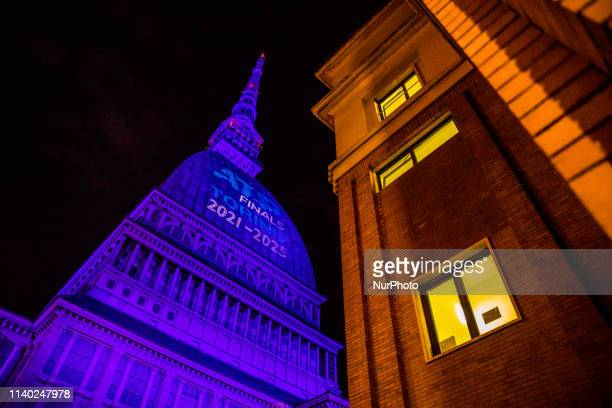 General view of the Mole Antonelliana illuminated to celebrate the assignation of ATP World Tour Finals. After 20 years in London the finals move for...