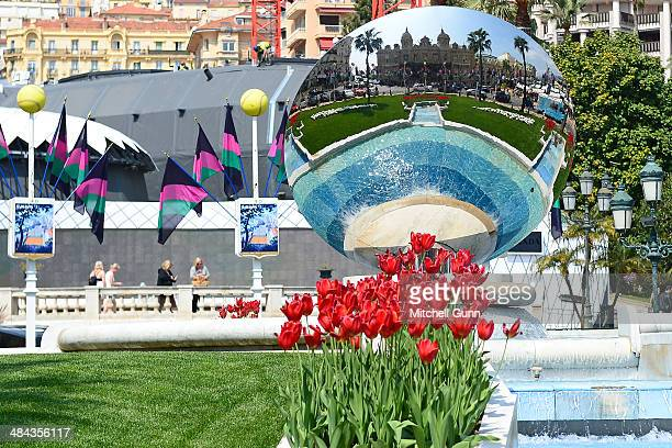 A general view of the Monte Carlo Casino reflected on a large piece of artwork during the preview day of the ATP Monte Carlo Masters at la Salle...