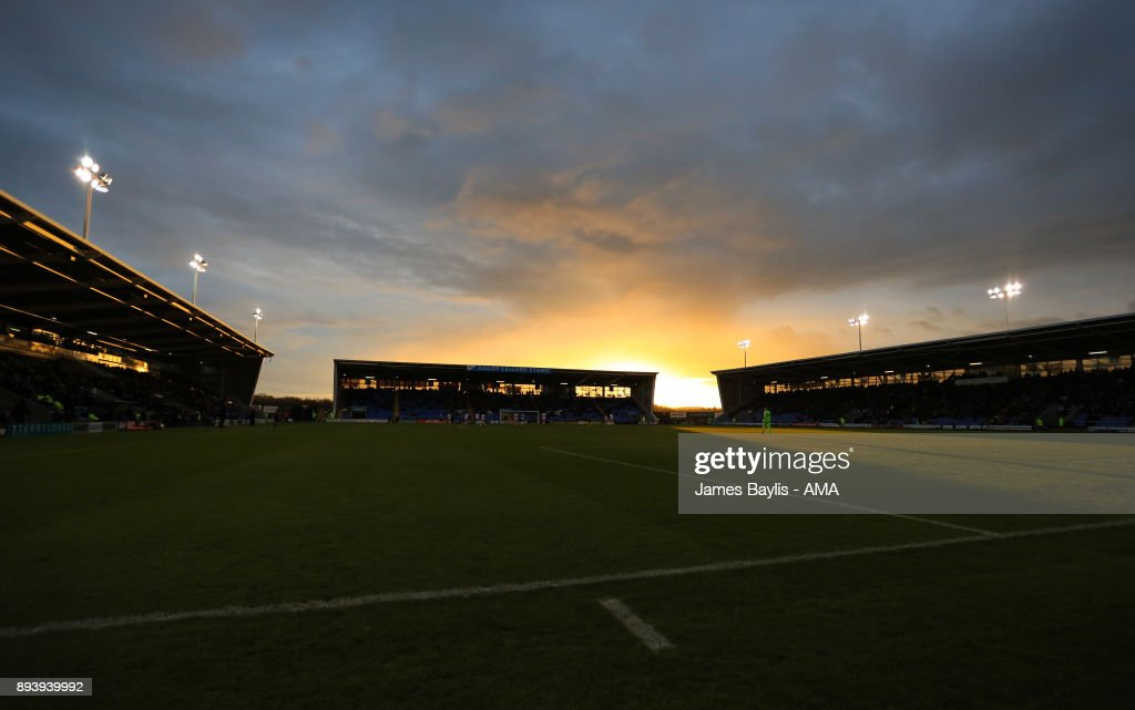 A general view of the Montgomery Waters Meadow as the sun sets during the Sky Bet League One match between Shrewsbury Town and Blackpool at New Meadow on December 16, 2017 in Shrewsbury, England.