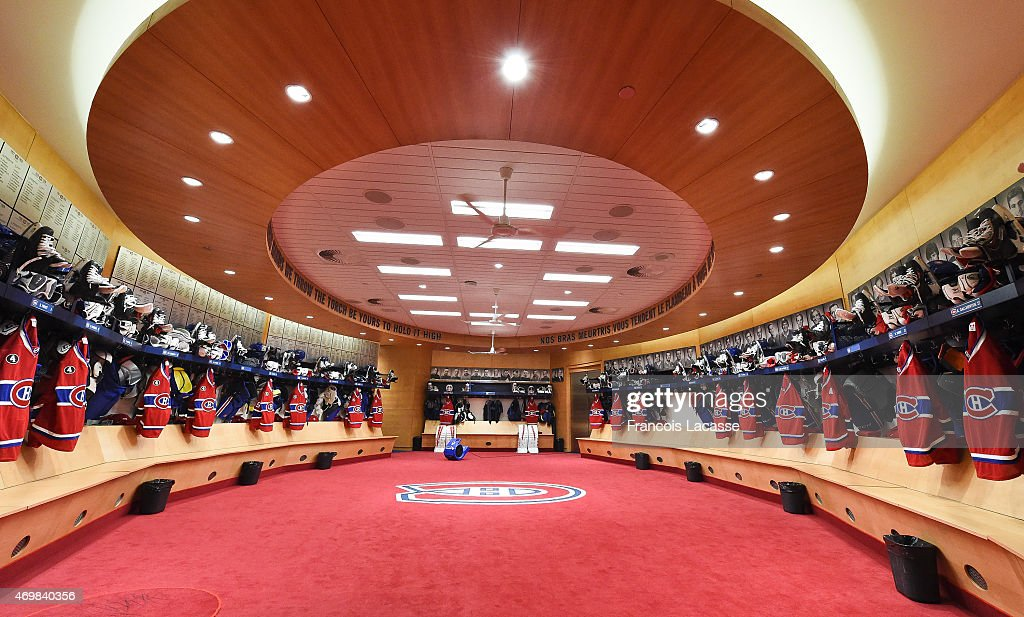 A general view of the Montreal Canadiens locker room as photographed prior of the Eastern Conference Quarterfinals against Ottawa Senators in Game One during the 2015 NHL Stanley Cup Playoffs at the Bell Centre on April 15, 2015 in Montreal, Quebec, Canada.