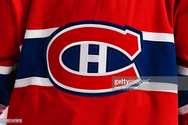 General view of the Montreal canadiens logo on a jersey during the Buffalo Sabres versus the Montreal Canadiens game on March 23 at Bell Centre in...