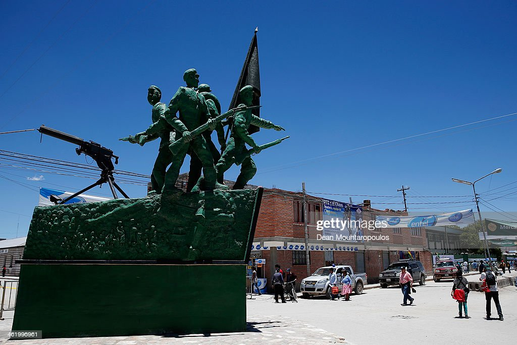 A general view of The monument to the heroes of the war in El Chaco during Day 7 of the 2014 Dakar Rally on January 11, 2014 in Uyuni, Bolivia.