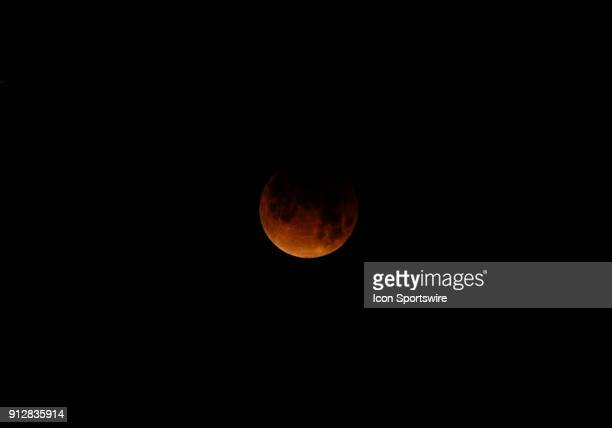 A general view of the moon as the lunar eclipse is happening during the Super Blue Blood Moon Lunar Eclipse on January 31 2018 in Union City CA