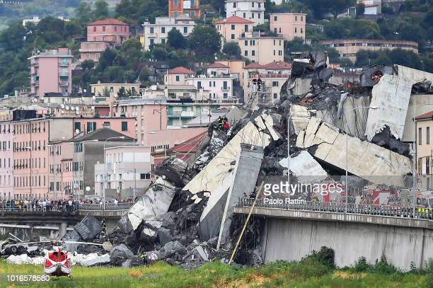 A general view of the Morandi bridge which collapsed on August 14 2018 in Genoa Italy At at least 22 people have died when a large section of Morandi...