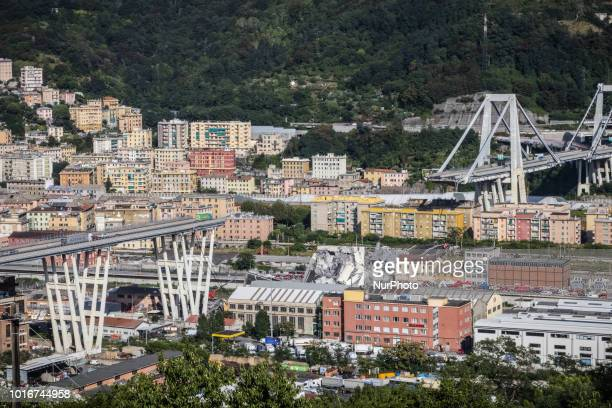 General view of the Morandi bridge which collapsed on August 14, 2018 in Genoa, Italy. At at least 22 people have died when a large section of...