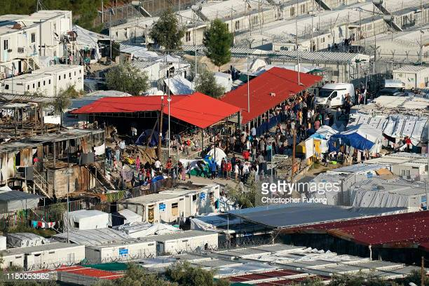A general view of the Moria migrant camp which was built for 3000 people but now contains over 13000 on October 09 2019 in Mytilene Greece...