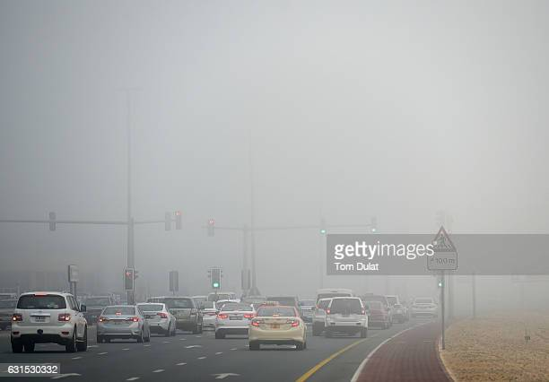 General view of the morning traffic during fog on January 12 2017 in Dubai United Arab Emirates