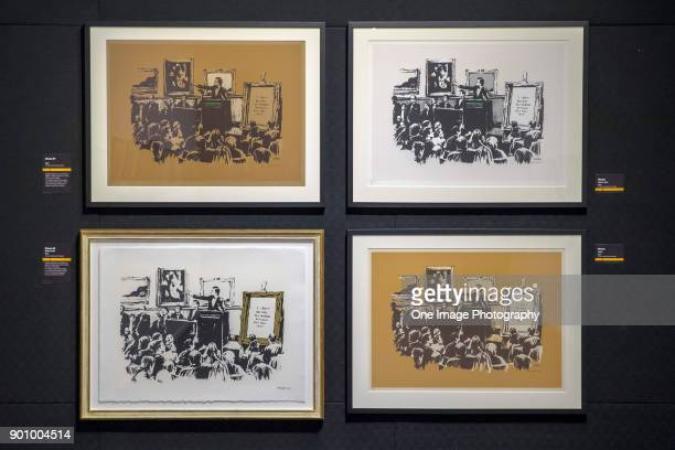 General view of the `Morons` exhibits at the Art of Banksy Exhibition at Aotea Centre on January 4, 2018 in Auckland, New Zealand. The exhibition...