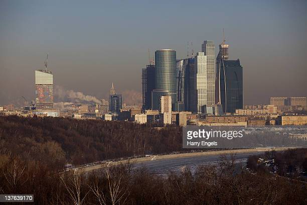A general view of the Moscow International Business Centre also called Moscow City with the Moskva river in the foreground on January 24 2012 in...