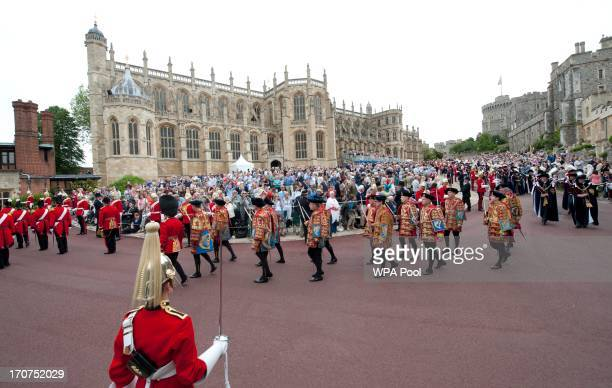A general view of the Most Noble Order of the Garter procession to St George's Chapel in Windsor Castle on June 17 2013 in Windsor England
