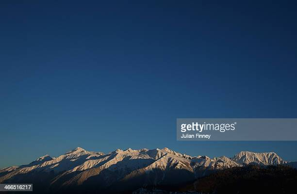 General view of the mountains ahead of the Sochi 2014 Winter Olympics on February 2, 2014 in Rosa Khutor, Sochi.