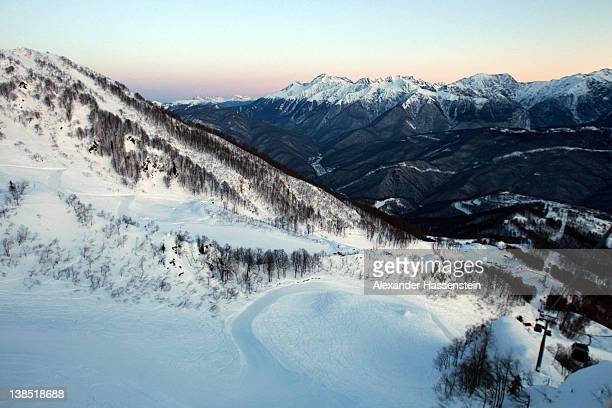General view of the mountains prior to the start of the Men's Downhill Training at the Audi FIS World Cup on February 8, at Rosa Khutor Mountain...
