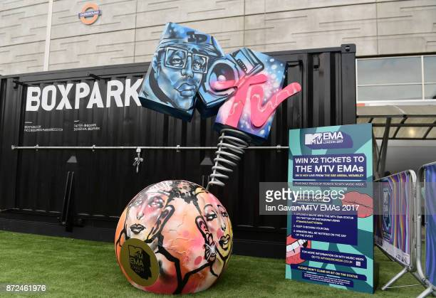 A general view of the MTV statue at Boxpark Shoreditch ahead of the MTV EMAs 2017 on November 9 2017 in London England The MTV EMAs 2017 is held at...