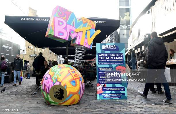 A general view of the MTV statue at Camden Market ahead of the MTV EMAs 2017 on November 9 2017 in London England The MTV EMAs 2017 is held at The...