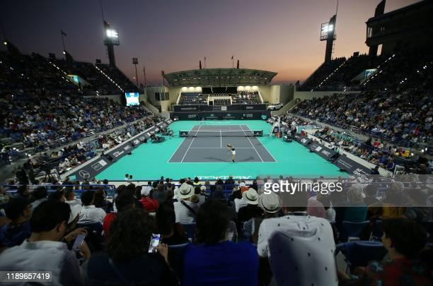 General view of the Mubadala World Tennis Championship at Zayed Sports City in Abu Dhabi on December 20, 2019.