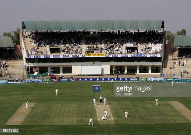 A general view of The Multan Cricket Stadium showing England batsmen Marcus Trescothick and Ian Bell during their partnership during the second day...
