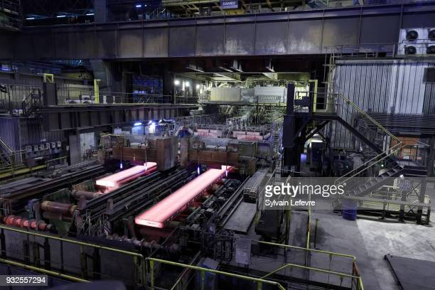 A general view of the multinational steel manufacturing corporation Arcelor Mittal plant as part of French Minister of Economy and Finance Bruno Le...