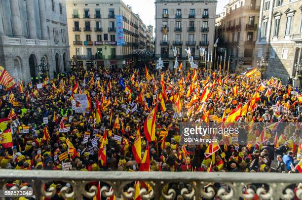 General view of the multitude of Spanish unionists concentrated in the Sant Jaume Steet Spain celebrates today the 39 anniversary of its Constitution...