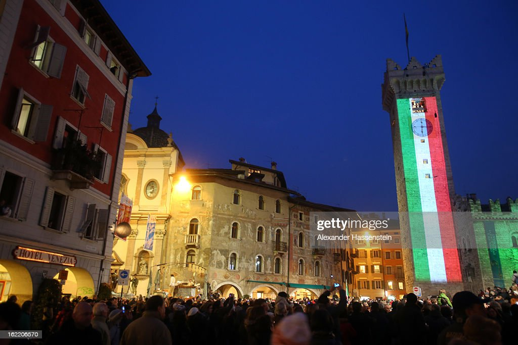 General view of the Municipal Tower (L) and St. Vigilio Cathedral during the Opening Ceremony of the FIS Nordic World Ski Championships at the Piazza Duomo on February 20, 2013 in Trento, Italy.