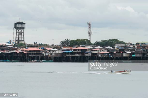 General view of the municipality of Tumaco department of Narino in the southwest of Colombia near the Pacific Ocean on November 9 2018 Drug...